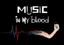 MUSIC IN MY BLOOD WALLPAPER. Music wallpaper. Portable media player in the hand connected to vein. Vectorn Stock Photography