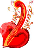 The Music in my heart. Violoncello, note, heart against the white background stock illustration