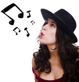 Music on my lips Stock Photos