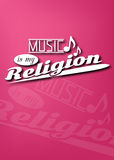 Music is my religion. Typography poster with magenta background stock illustration