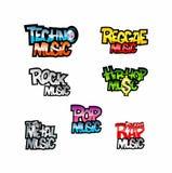 Music names icons Royalty Free Stock Photos