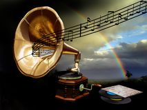 Music and nature. A gramophone from where the notes are escaping, crossing  the nature and creating a rainbow Royalty Free Stock Photo