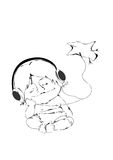 Music of Nature. Baby sitting in headphones and listening to music Stock Illustration