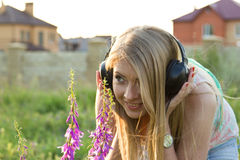 Music nature. One of the photos Made during a photo shoot of Russian girl in summer at sunset Royalty Free Stock Photo