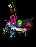 Music neon. Composition illustration over a black background Stock Photography