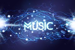 Music neon sing. Night club banner, logo, emblem and label. Bright signboard, light electric banner with Music sign royalty free illustration