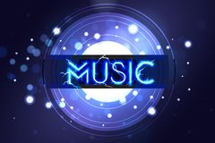 Music neon sing. Night club banner, logo, emblem and label. Bright signboard, light banner with Music sign. Vector vector illustration