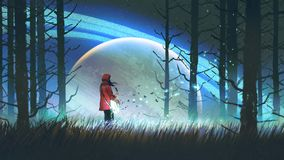 Music of the night forest. Night scenery of young woman playing a magic guitar in the forest against glowing planet on background, digital art style Stock Images
