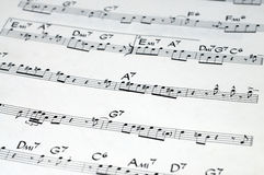 Music notation. Close-up of a the score of an old jazz classic Stock Photography