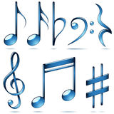 Music notation blue glass symbols. Royalty Free Stock Photography