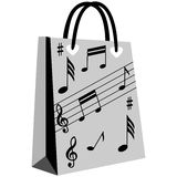Music notation shopping bag Stock Photography