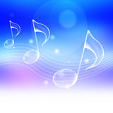 Music note. Symbol with abstract blue background Stock Photos