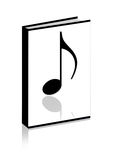 Music note. On the book at white background Royalty Free Stock Photography