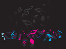 Music note. Black background with Music note Royalty Free Stock Photography
