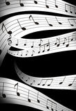 Music note and abstrtact color background. black Royalty Free Stock Photos