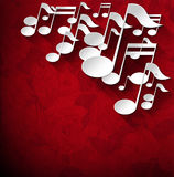 Music Note Background - Red Velvet Roses Stock Images