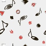 Music note background. Vector illustration. Seamless black, white and red abstract pattern with music notes. Stock Images