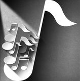 Music Note Background - White Velvet Stock Photo