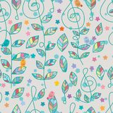 Music note bird leaf natural seamless pattern Stock Photography