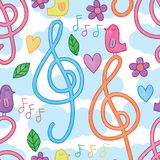 Music note bird stand watercolor seamless pattern. This illustration is design and drawing music note bird stand watercolor in white color cloud sky background royalty free illustration