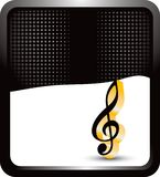 Music note on black halftone banner Stock Photo