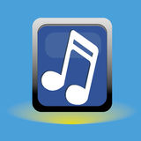 Music note. On blue squares on blue special background Stock Photos