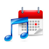Music note and calendar Royalty Free Stock Images