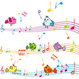 Music note with cartoon birds singing Royalty Free Stock Photos