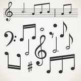Music note collection. On old paper Stock Images