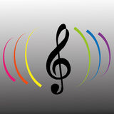 Music note. With color lines on gradiente gray background Royalty Free Stock Image