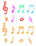 Music note color set Royalty Free Stock Image