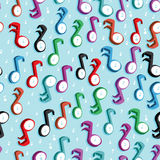 Music note colorful dimension seamless pattern Stock Images