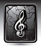 Music note on cracked silver web button Royalty Free Stock Images