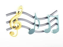 Music note 3D. Isolated on white background Royalty Free Stock Photos