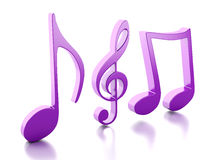 Music note 3D.  on white background Royalty Free Stock Photo