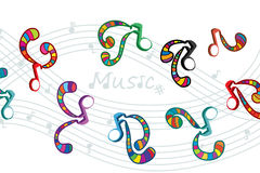 Music note dance style colorful. Illustration abstract music note dancing style colorful white color background hand drawing graphic Stock Photos