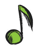 Music note doodle, illustration Stock Image