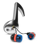 Music note with earphones Stock Photo