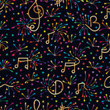Music note firework colorful seamless pattern. This illustration is design abstract music note bring the firework colorful fun and climax in dark background star Stock Photography