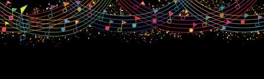 Music note flag top celebration rainbow line giltter banner vector illustration