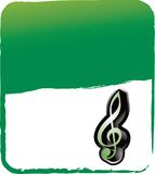 Music note on green grungy background Stock Photo