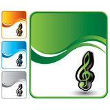 Music note on green wave background Royalty Free Stock Photography