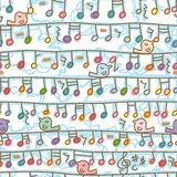 Music Note Hang Line Bird Stand Seamless Pattern Royalty Free Stock Images