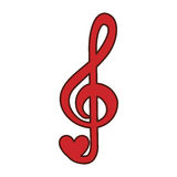 Music note with heart. Illustration design stock illustration