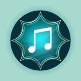 Music note icon magical glassy sunburst blue button sky blue background vector illustration