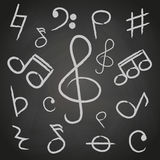 Music note icons on black board Royalty Free Stock Images