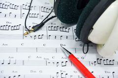 Music note for idea of song Stock Photos