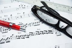 Music note for idea of song Stock Image