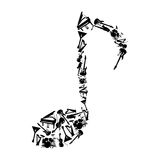 Music note including musical instruments. Vector. Black music note including musical instruments on a white background Stock Photography
