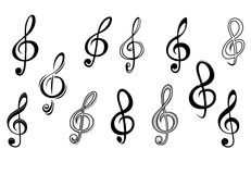 Music note keys. Set isolated on white for entertainment design Stock Photography